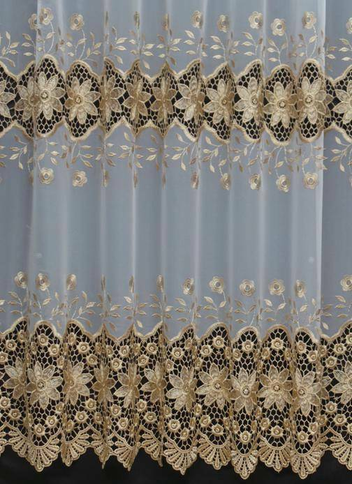 rosie gold white macrame voile curtain made to measure. Black Bedroom Furniture Sets. Home Design Ideas