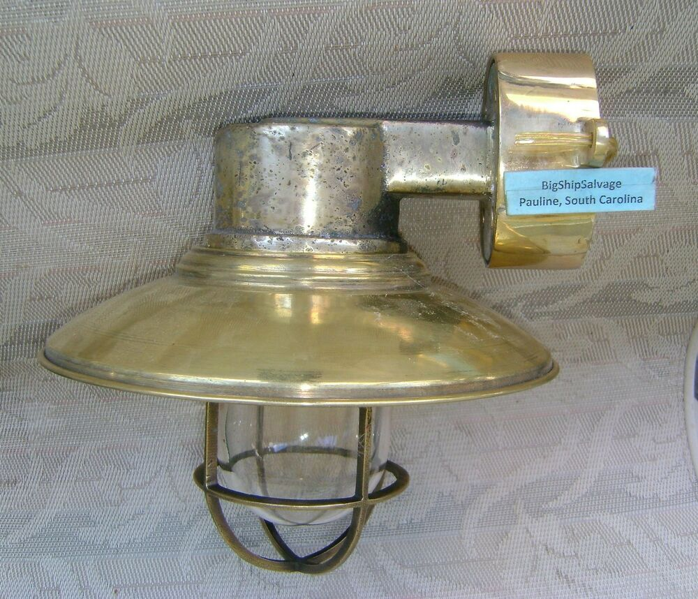 Vintage Cast Brass Nautical Wall Sconce W Brass Deflector