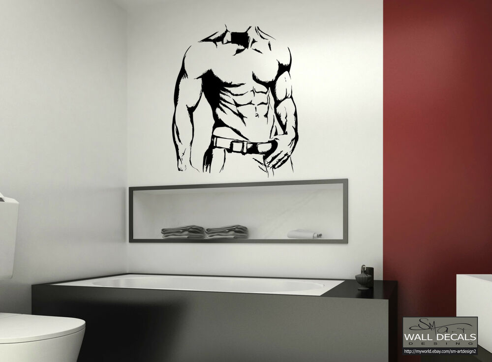 SEXY MUSCLE MAN SILHOUETTE VINYL WALL DECAL STICKER MURAL