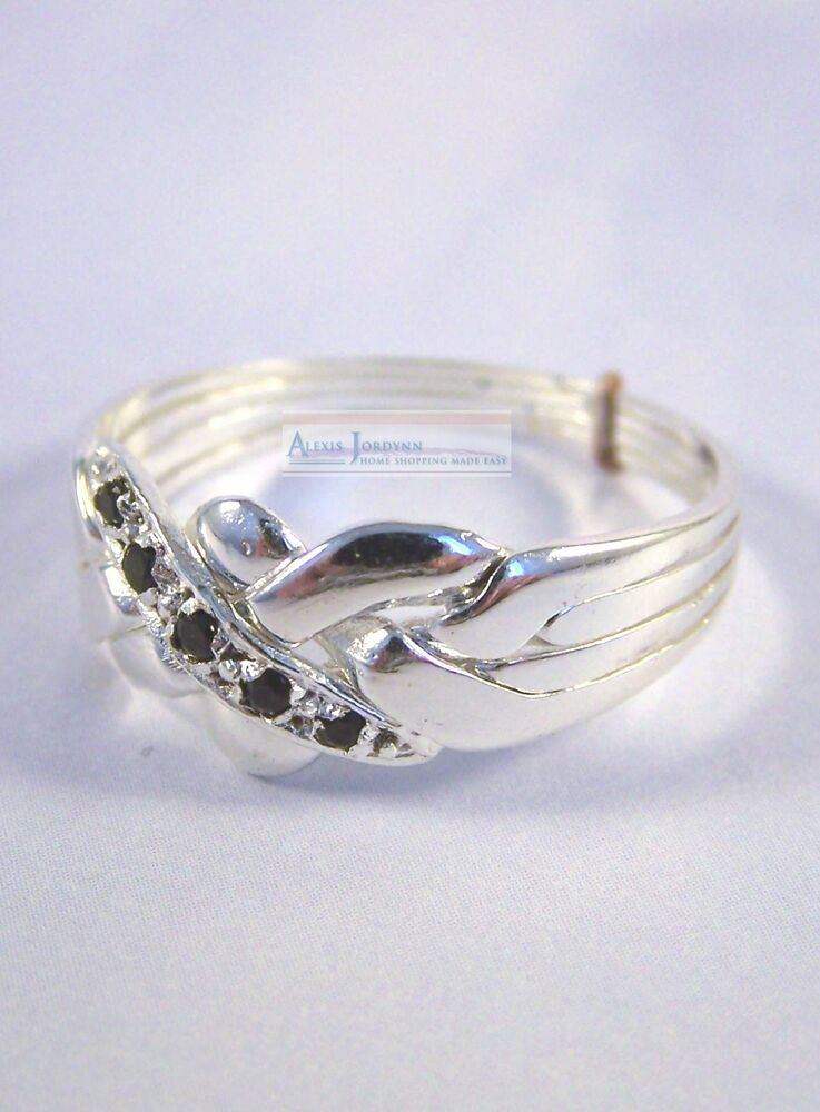 4 Band Silver Amp Sapphire Turkish Puzzle Ring Traditional