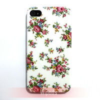 Rose Flower Designer Floral Hard White Cover for Apple iPhone 4 Case 4S 4th 4G