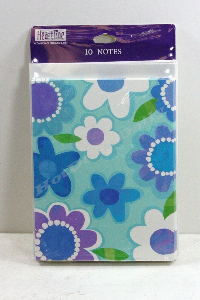 10 pack of note cards blue flower pattern greeting card