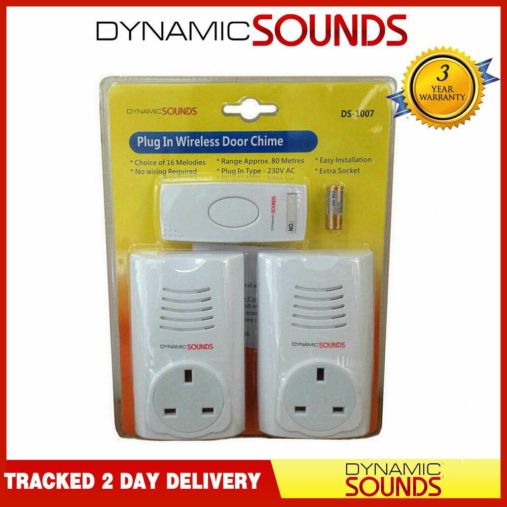 Dynamic Twin Plug In Wireless Door Bell Chime Mains With Socket Up Wiring Doorbell To 80m Range 3776860540709 Ebay