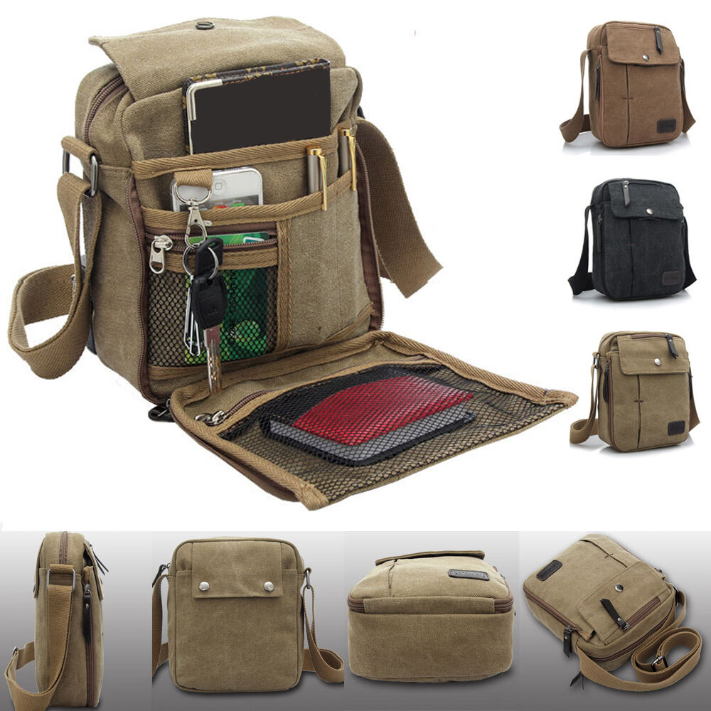 Men's Vintage Canvas Leather Satchel School Military Shoulder Bag ...
