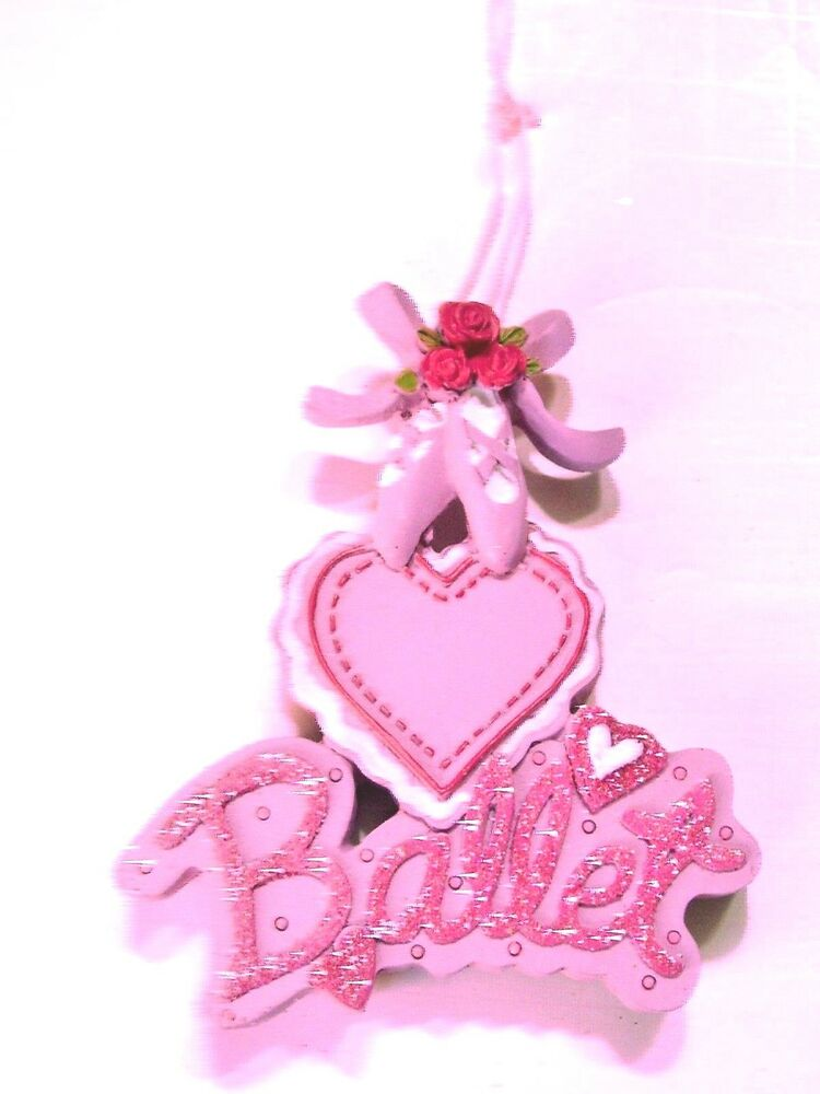 Pink ballet dance slippers heart girls christmas ornament decoration holiday ebay for Ballet shoes christmas decoration