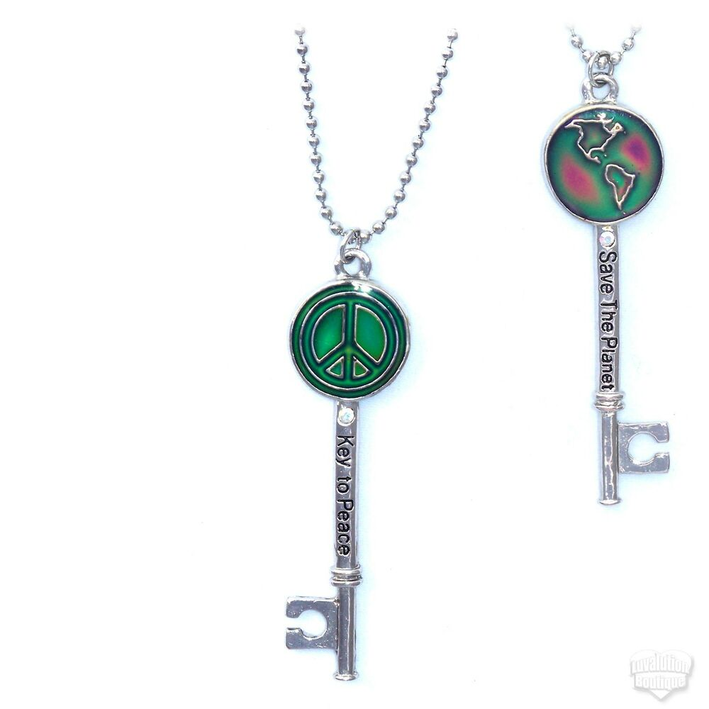key to peace color changing mood necklace reversible save
