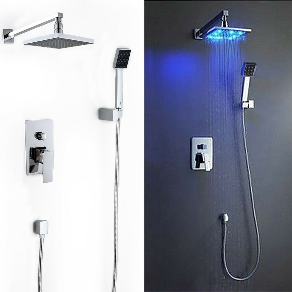 8 Led Rainfall Shower Head Arm Control Valve Handspray Shower Faucet Set Ebay