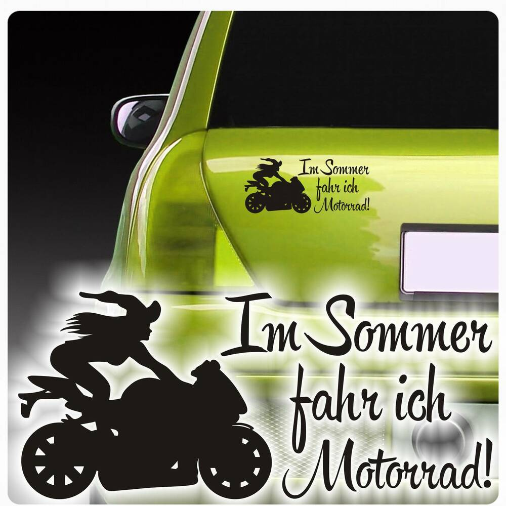 auto aufkleber im sommer fahr ich motorrad sticker hexe. Black Bedroom Furniture Sets. Home Design Ideas
