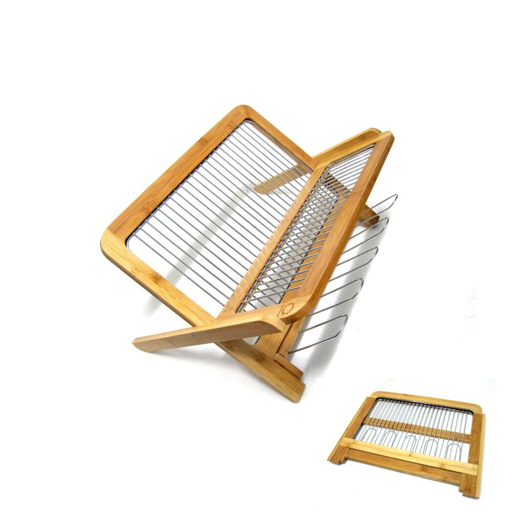 Eco Friednly Folding Bamboo Dish Rack Dish Drying Holder