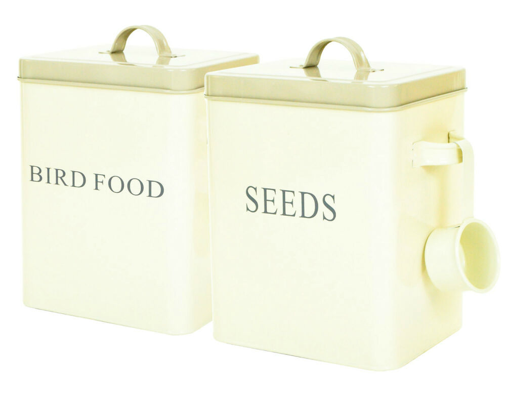 Cream retro vintage enamel seed dry bird food storage box for Bird food holder