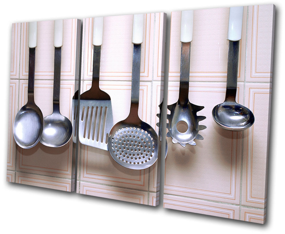 Food kitchen utensils treble canvas wall art picture print for Wall painting utensils