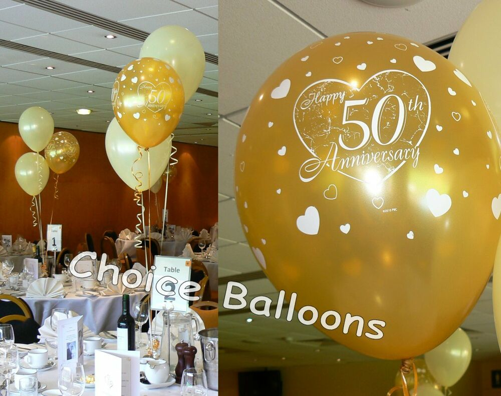 Golden 50th wedding anniversary balloons decoration kit ebay for Balloon decoration kits
