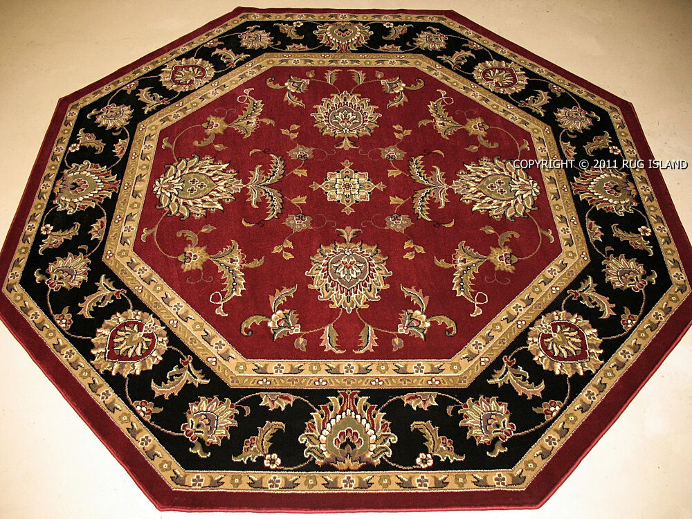 8 39 octagon traditional persian black green gold burgundy for Red and gold area rugs