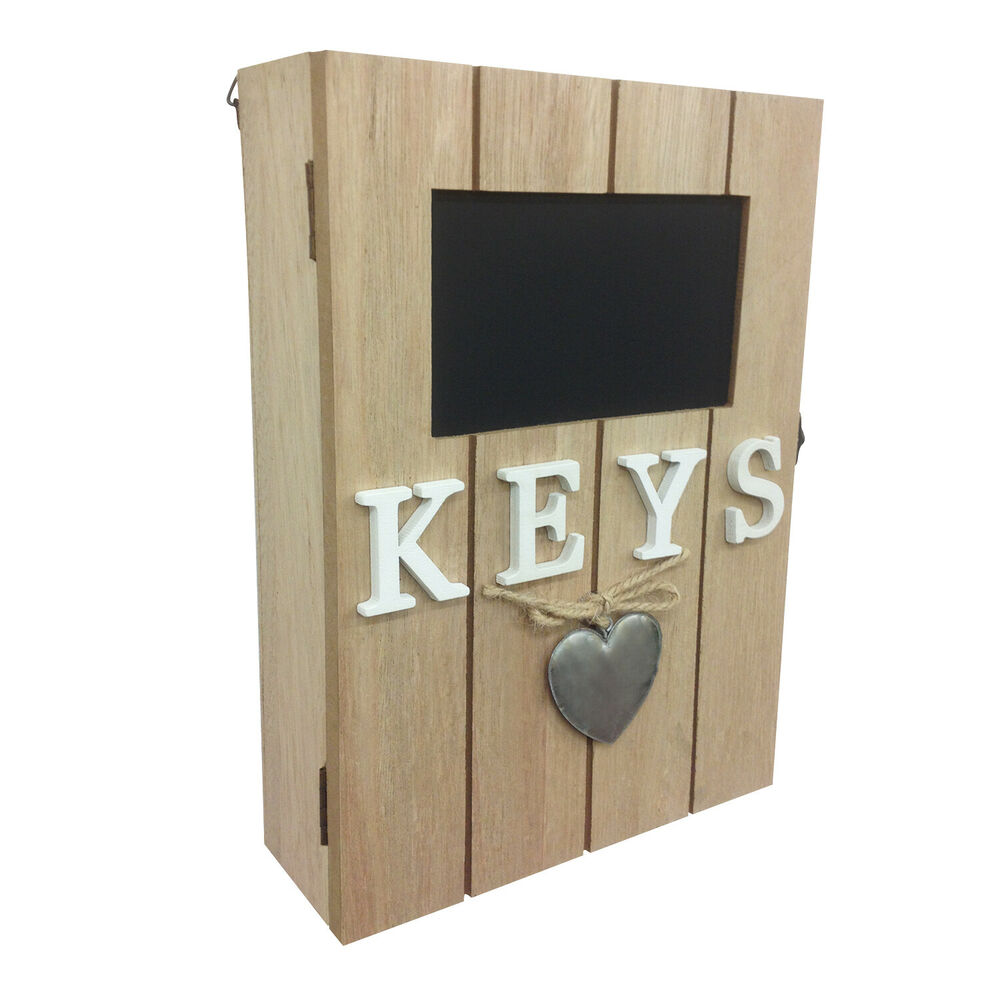 Details About Heart Wooden Shabby Chic Wall Mounted Key Box Cabinet Hallway Home Office Study