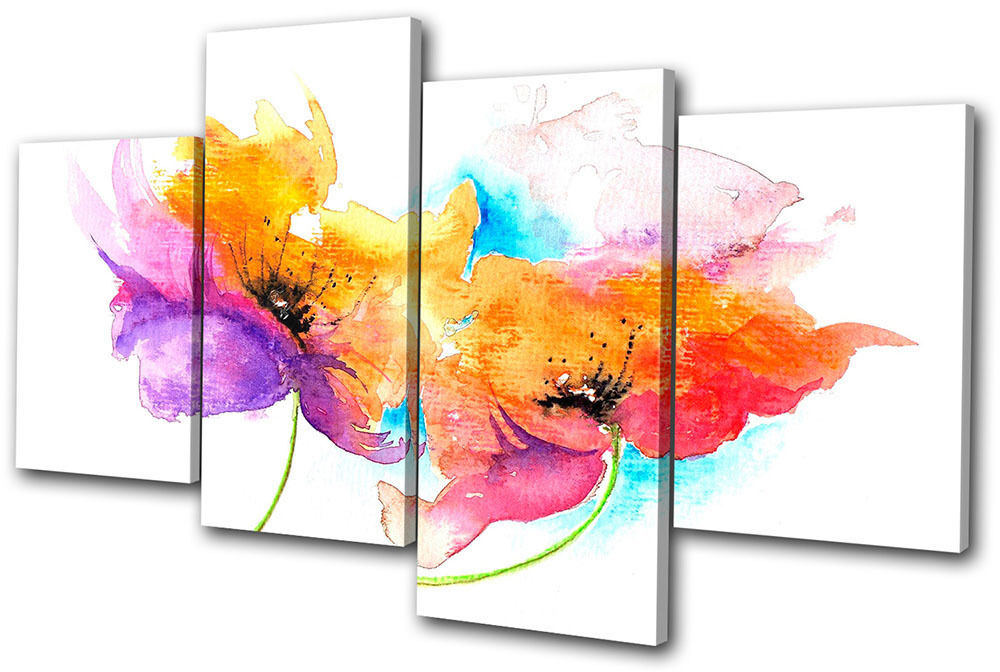 Floral Painting Style MULTI CANVAS WALL ART Picture Print ...