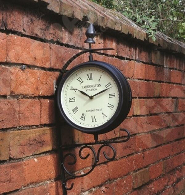 Train station victorian style rotating metal garden clock for Train station style wall clock