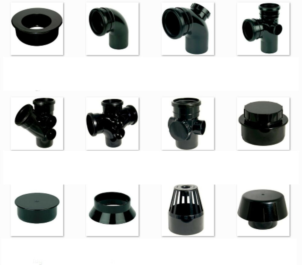 Black soil pipe and ring seal fittings upvc mm external