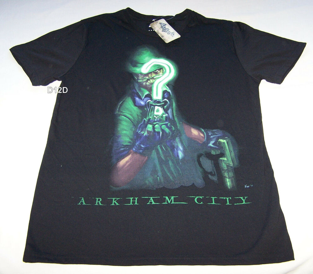 Batman arkham city riddler mens black t shirt size xxs new for Riddler t shirt with bats