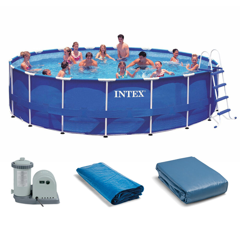 Intex 18 39 x 48 metal frame swimming pool set with 1500 for Hagebau intex pool