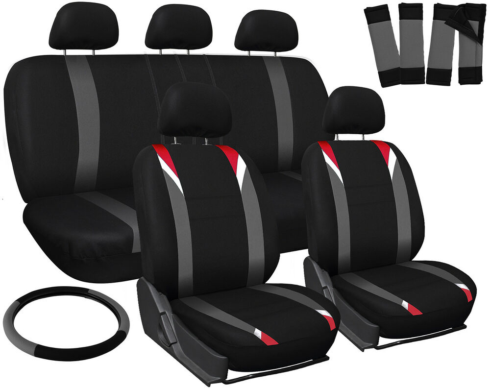 car seat covers for kia soul red gray black w steering wheel belt pad head rests ebay. Black Bedroom Furniture Sets. Home Design Ideas