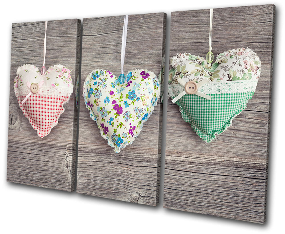 Wall Art Canvas Shabby Chic : Love hearts shabby chic treble canvas wall art picture