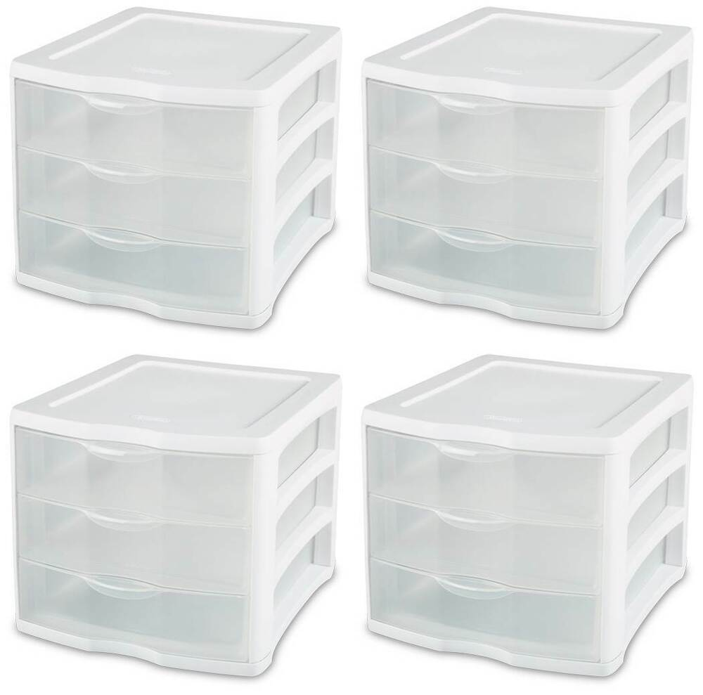 4 Pack Sterilite 17918004 ClearView Portable 3 Storage
