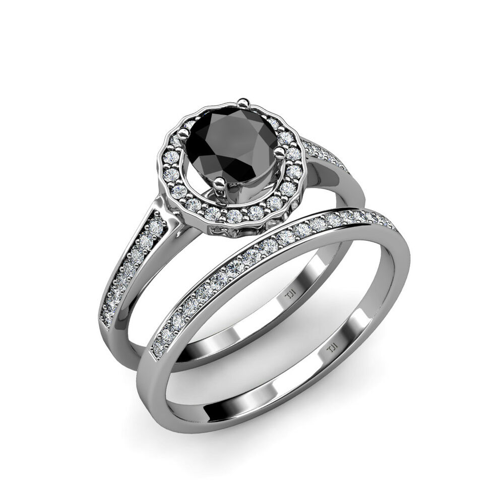 Black white diamond halo bridal set ring wedding band for 1 ct wedding ring