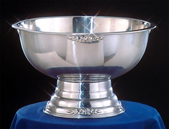 Stainless steel party punch bowl wedding banquet catering silver trim