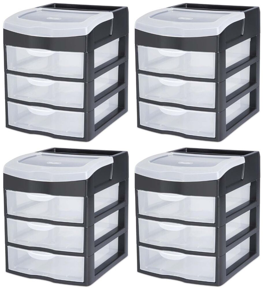 4 sterilite 20639004 3 slide out drawer table desktop storage unit clear black ebay. Black Bedroom Furniture Sets. Home Design Ideas