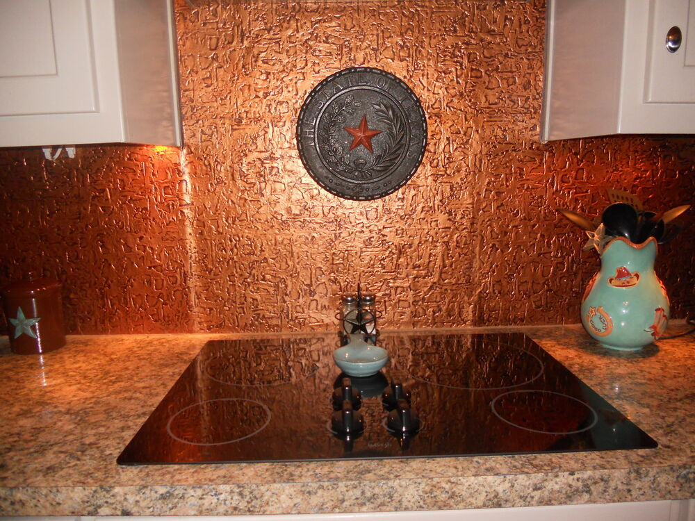 roll of faux tin kitchen backsplash wc40 ant copper 15