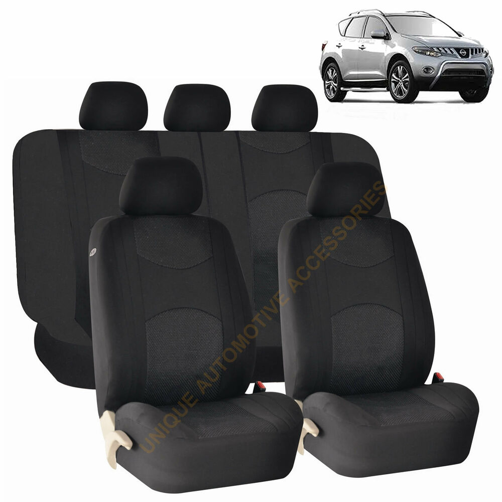 BLACK AIRBAG SEAT COVERS Amp SPLIT Bench 9pc SET FOR NISSAN
