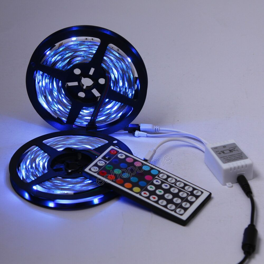 2x5m 5050 smd rgb 300 led band leiste streifen licht 44key ir fernbedienung ebay. Black Bedroom Furniture Sets. Home Design Ideas