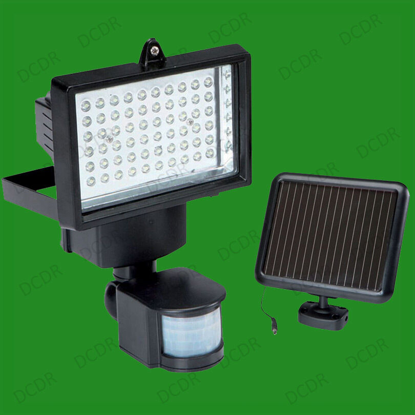 4x 60 led solar power security light pir dusk dawn. Black Bedroom Furniture Sets. Home Design Ideas
