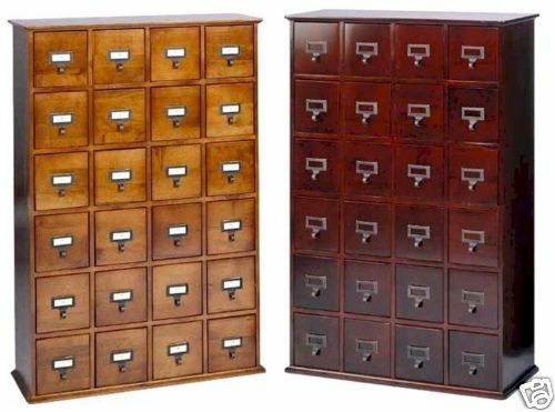 Hardwood Library 192 DVD 456 CD Storage Drawer Cabinet | eBay