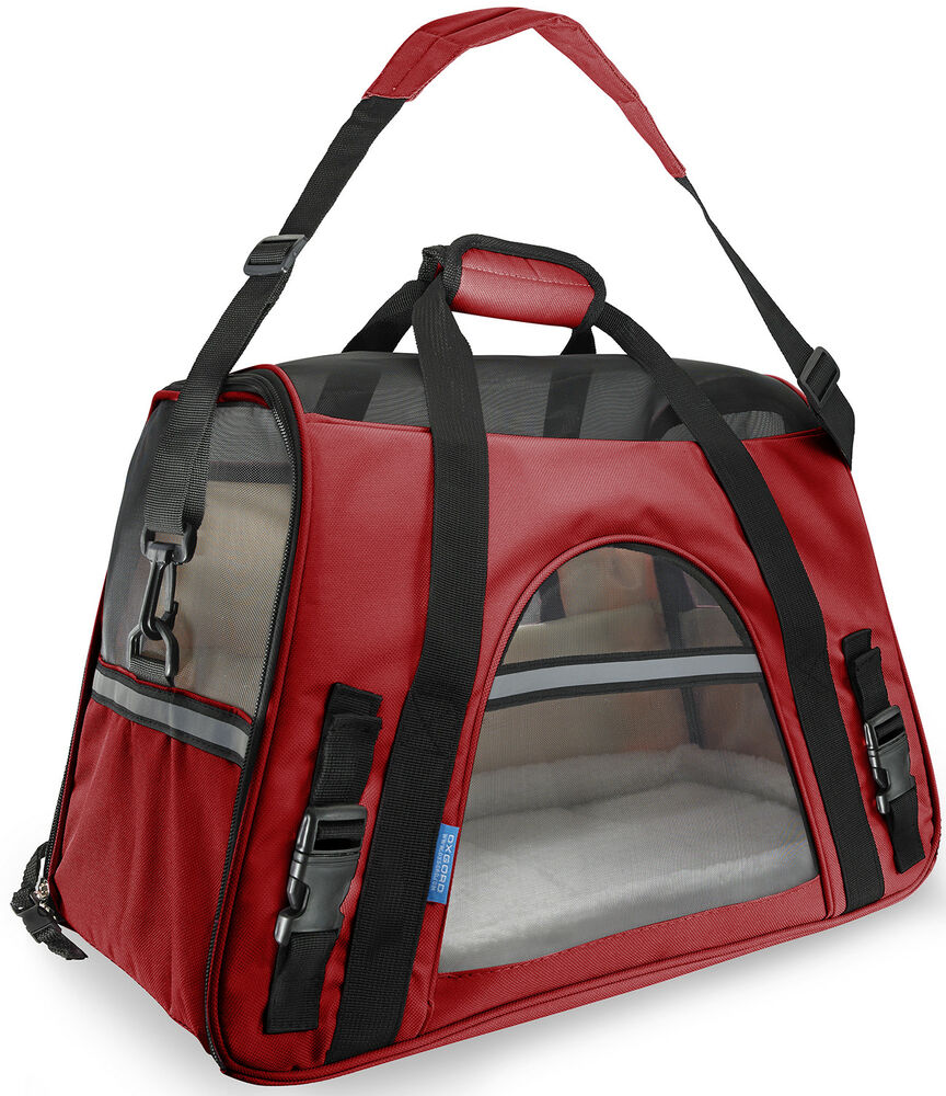 Pet Carrier Soft Sided Large Cat Dog Comfort Crimson Red