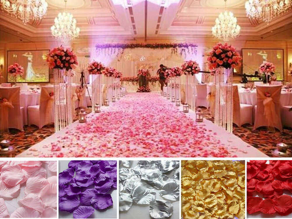 Wholesale various colors silk flower rose petals wedding for Cheap wedding decorations uk