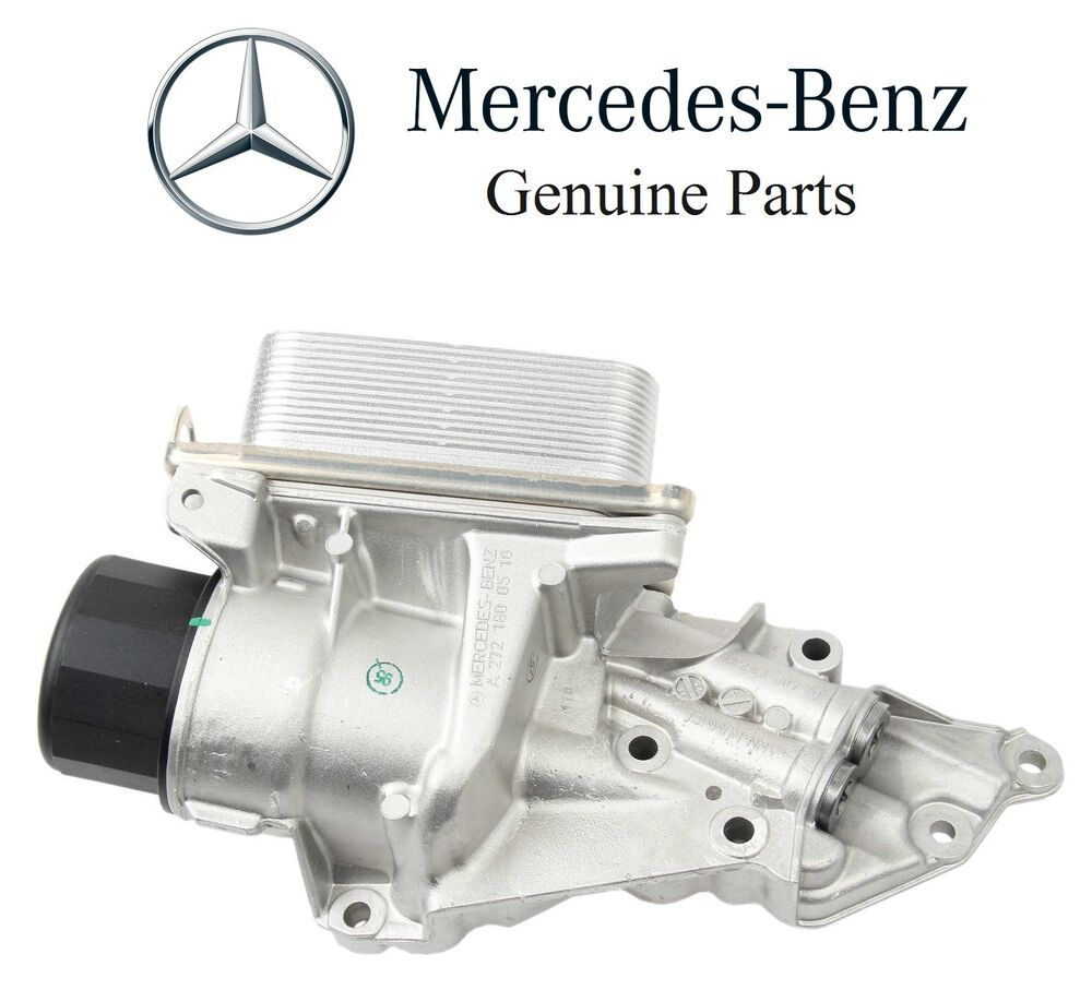 Mercedes w203 c230 oil filter housing with cooler genuine for Mercedes benz spare parts price list