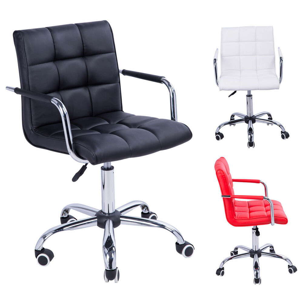 Swivel Office Chair PU Leather Adjustable Computer Desk Armchair High Back Wh