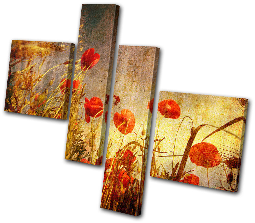 Wall Art Multi Canvas : Floral poppies flowers multi canvas wall art picture print