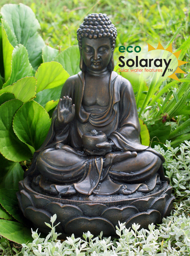 sitting buddha water feature fountain solar powered metal effect indoor outdoor ebay. Black Bedroom Furniture Sets. Home Design Ideas