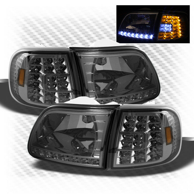 For Smoked 97 02 Expedition 97 03 Ford F150 LED Headlights