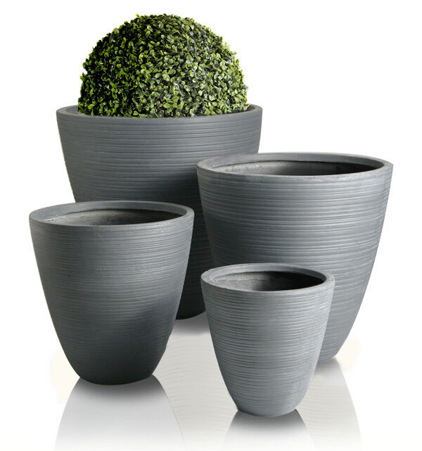 Hemon Grey Round Outdoor Planter Garden Patio Flower Plant Pot