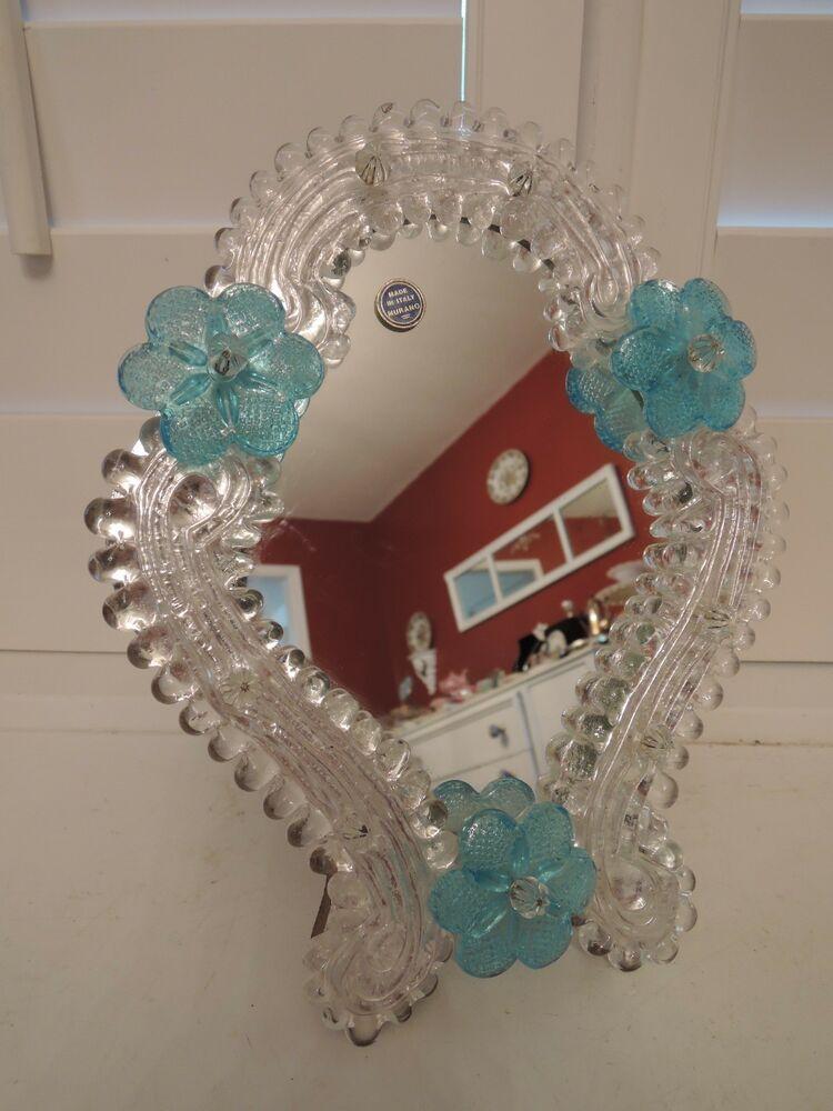 Vintage Venetian Murano Glass Ladies Dresser Mirror Blue