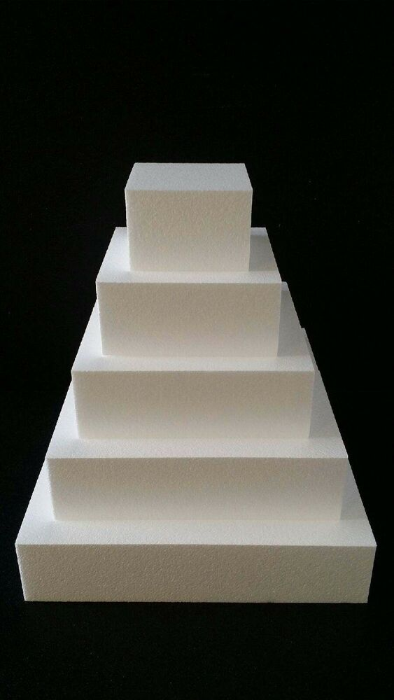 5 Pc Set Square Cake Dummies 4 Inches Thick 18 Quot 15 Quot 12
