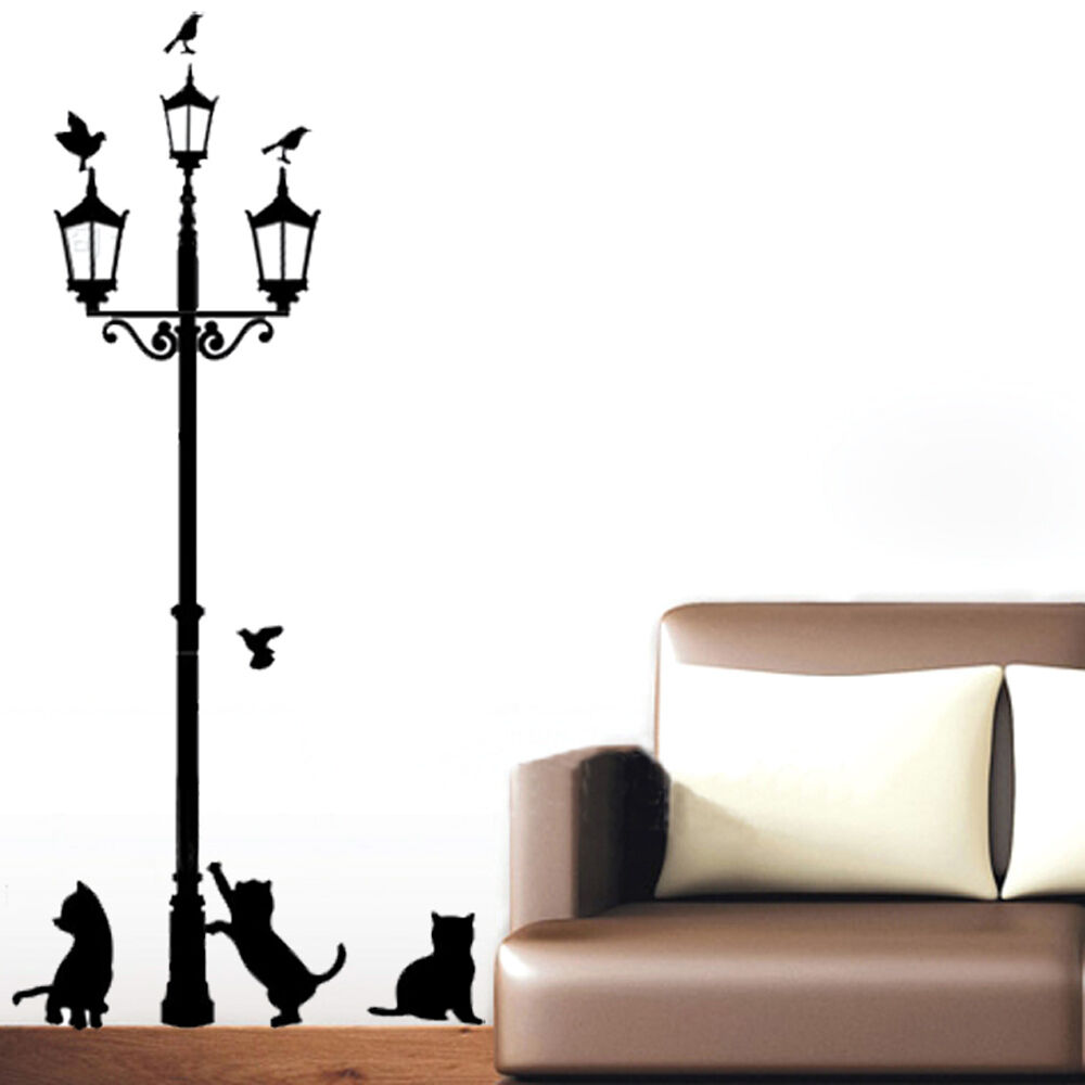 Cats street lamp lights art vinyl wall sticker decal mural for Decor mural wall art