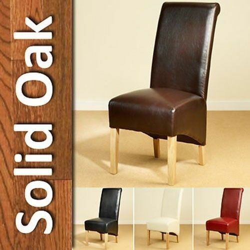 leather dining chairs scroll high back tall oak legs