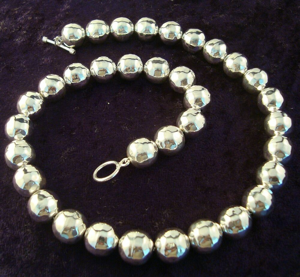 Taxco Mexican 925 Sterling Silver Hammered Beaded Bead