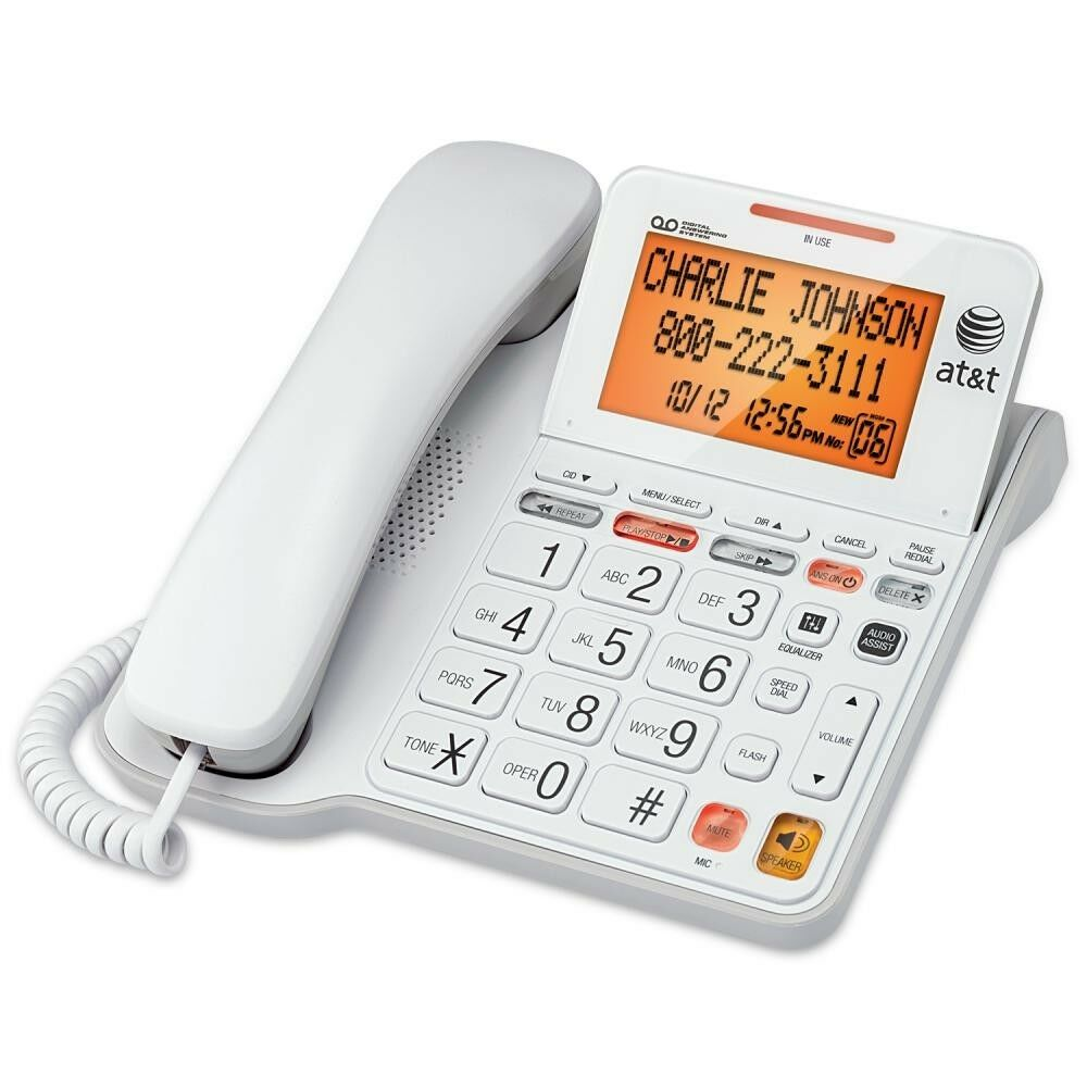 white corded phone with answering machine