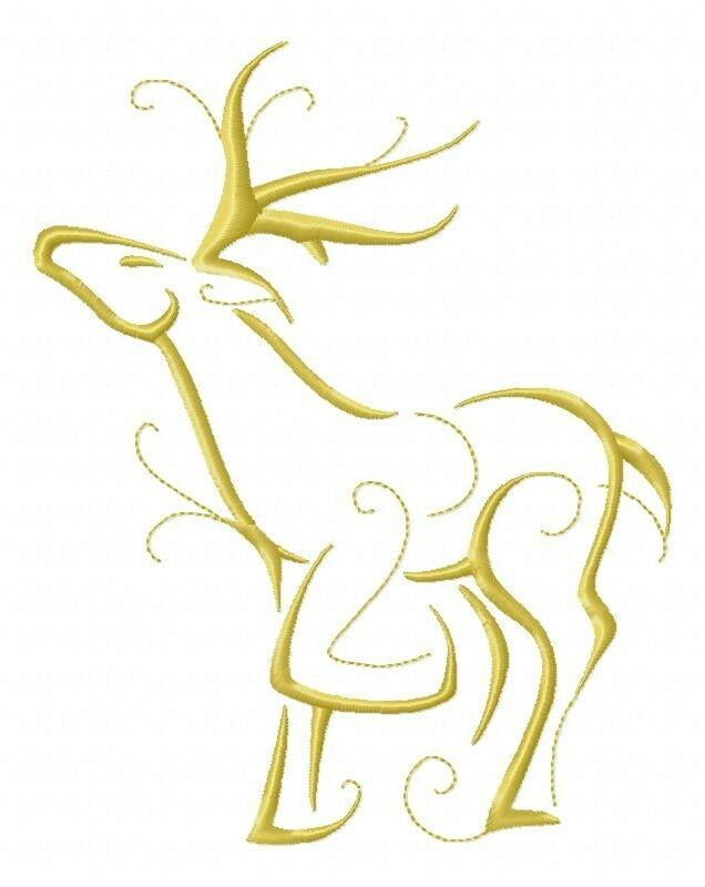 Outline Christmas Reindeers 10 Machine Embroidery Designs On CD In 5 Sizes | EBay