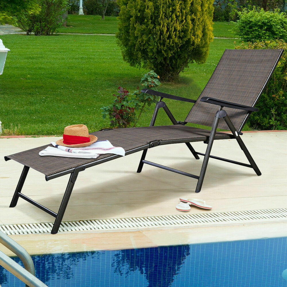 Adjustable Pool Chaise Lounge Chair Recliner Textilene